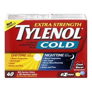 $9.97 (原价$11.48) 家中常备药物Tylenol 泰诺强效感冒药 24片日用 16片夜用