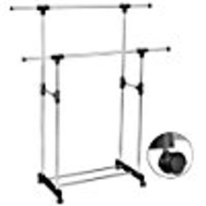 HEAVY DUTY-Double Adjustable Portable Clothes Rack Hanger Extendable Rolling: Home & Kitchen