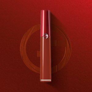 送正装妆前(价值$86)Giorgio Armani 新红管唇釉网红色 陶土206/山楂415