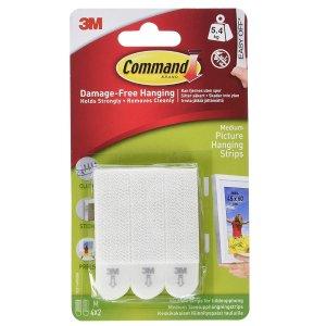 $3.49(原价$5.93)Command 无痕墙壁贴 4组 最大承重12磅