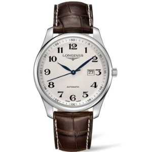 LONGINES Master Collection Silver Dial Brown Alligator Leather Automatic Men's Watch No. L28934783