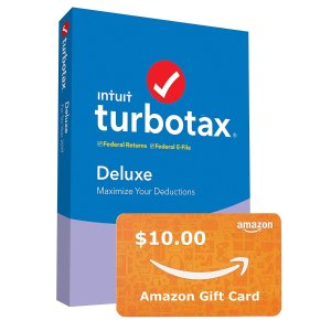 $39.88 w/ free $10 Gift CardIntuit TurboTax Deluxe 2019 Tax Software [Amazon Exclusive] [PC/Mac Disc]