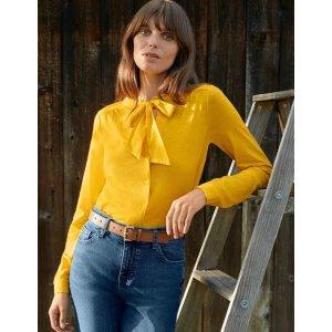 BodenRachel Tie Neck Jersey Shirt - Maize | Boden US