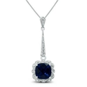 Free Necklace with Purchase RingLab Created Sapphire and Genuine Diamond Pendant in .925 Sterling Silver