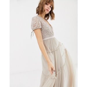 ASOSNeedle & Thread embroidered tulle maxi dress with cap sleeve in rose at asos.com