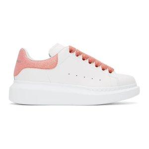 Alexander McQueen美国定价$490粉尾小白鞋