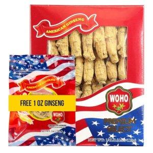 WOHO #132.4 American Ginseng Half Short Medium 4oz Box Get 1oz Roots Short Small Free
