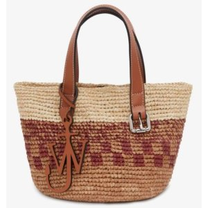 JW AndersonBrown Woven Raffia and Leather Mini Belt Basket Tote Bag
