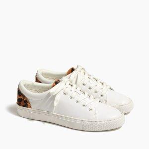 J.Crewbuy 1 get 1 freeRoad trip sneakers with leopard calf hair trim