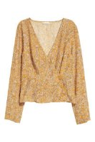 Patterned Wrapover Blouse | Dark yellow/floral | SALE | H&M US