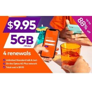 $4.97 (原价$80) 史无前例价限今天:amaysim 可4次续订 无线通话+5GB流量套餐