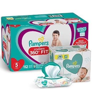 Pampers$10 offDiapers Size 5 - Cruisers 360˚ Fit Disposable Baby Diapers with Stretchy Waistband, 112 Count ONE Month Supply with Baby Wipes Sensitive 6X Pop-Top Packs, 336 Count