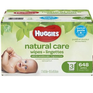 $13HUGGIES Natural Care Unscented Baby Wipes, Sensitive, 3 Refill Packs, 648 Count Total