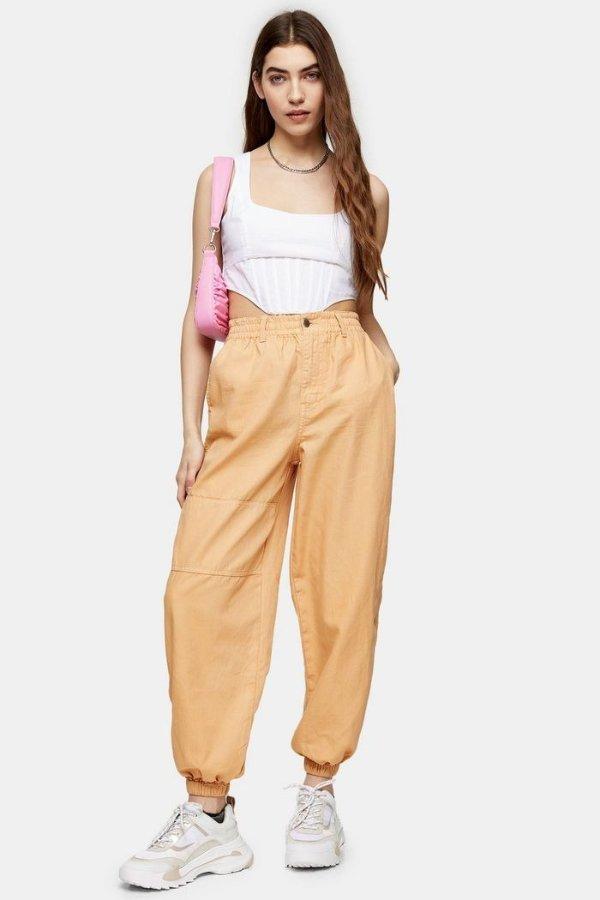 杏色休闲裤