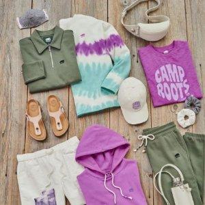 低至6折 运动长裤$32Roots的糖果色秋天 粉色长袖$19.99、奶油色夹克$69.99
