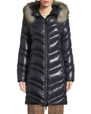 Neiman Marcus Fulmar Hooded Puffer Coat w/ Removable Fur TrimLogo Embroidered Pullover SweatshirtFloral & Bird Print Straight-Leg Track Pants