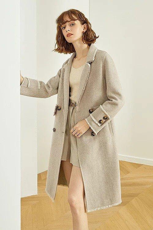 灰色流苏双面羊毛大衣