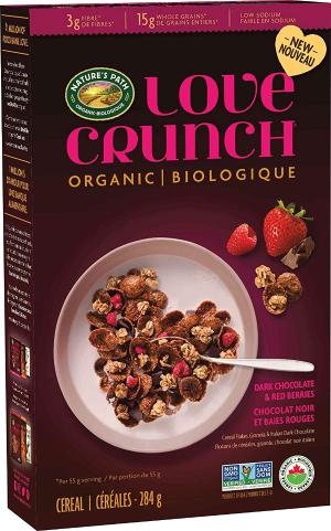 $5.97(原价$19.13)NATURE'S PATH 有机谷物麦片 284g 黑巧克力 草莓 覆盆子 早餐好搭档