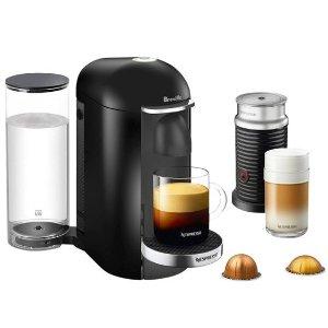 Nespresso VertuoPlus Deluxe Coffee Maker and Espresso Machine with Aeroccino Milk Frother by Breville