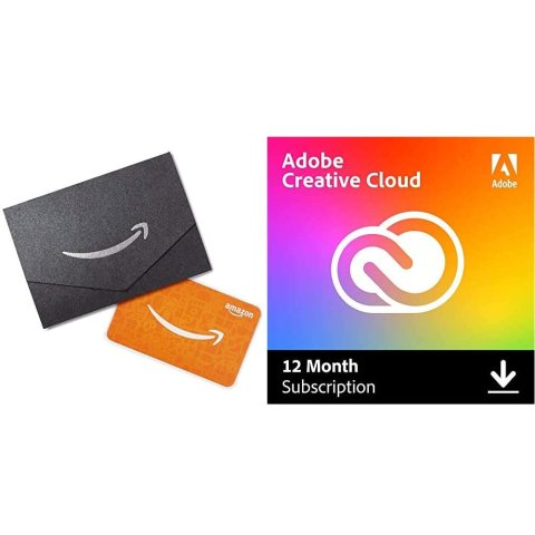 Adobe Creative Cloud + $10 Amazon Gift Card   Entire collection of Adobe creative tools plus 100GB storage   12-month Subscription with auto-renewal, billed monthly, PC/Mac