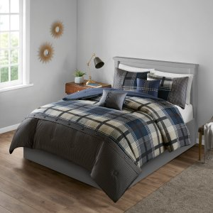 Mainstays Estrella Plaid Printed Comforter Bedding Set, Navy, King