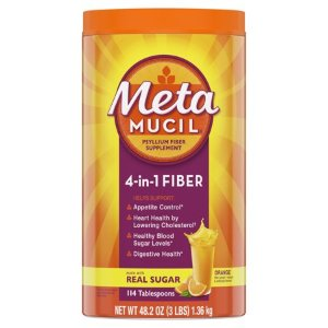Metamucil Fiber, 4-in-1 Psyllium Fiber Supplement Powder with Real Sugar, Orange Smooth Flavored Drink, 114 Servings - Walmart.com