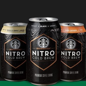 $19Starbucks Nitro Cold Brew, Black Unsweetened, 9.6 Fl oz Can (8 Pack)