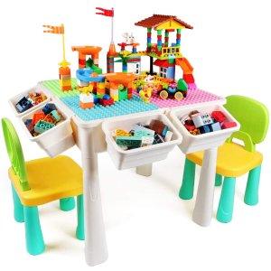 $84.99(原价$92.89)KIDCHEER 七合一儿童多功能游戏桌 集学习娱乐于一体