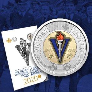 发行$2流通硬币加拿大皇家造币厂庆祝二战结束75周年 限量版硬币