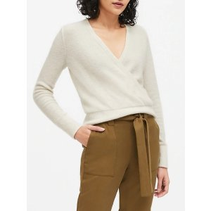Banana RepublicAire Cropped Wrap-Effect Sweater