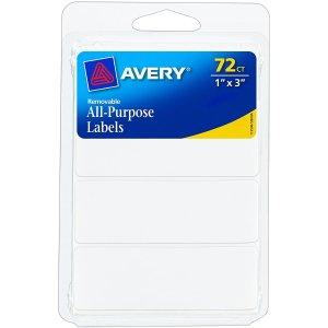 $1.12白菜价:Avery 可揭除多用标签贴纸1x3 72张