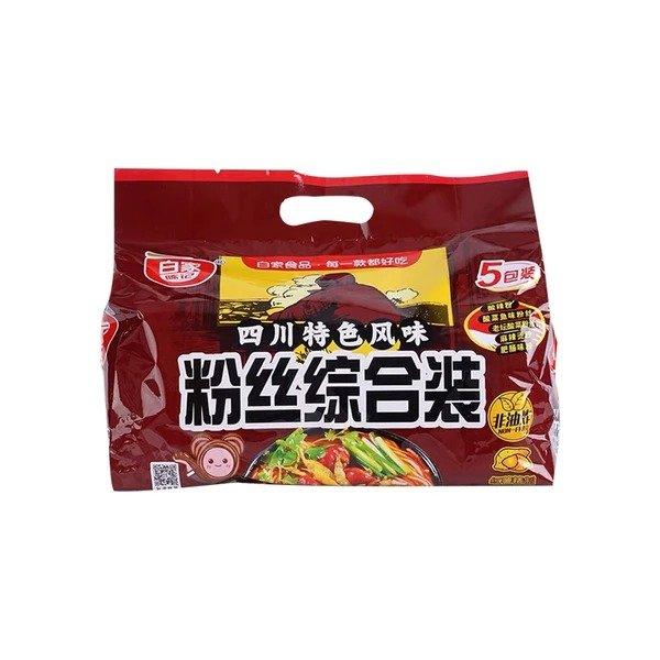 白家陈记 非油炸 全家福综合装方便粉丝 五种口味 5包装 538g