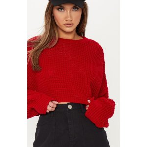 PrettyLittleThingRed Fisherman Knitted Super Cropped Sweater