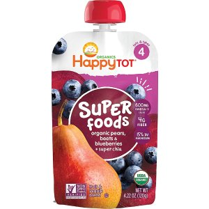 happy babyHappyTot® Superfoods Stage 4 Organic Toddler Food Organic Pears Blueberries & Beets plus Super Chia -- 4.22 oz