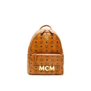 MCM经典棕色logo双肩包
