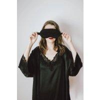 Cloroom Lace Silk Satin Eyemask-Black