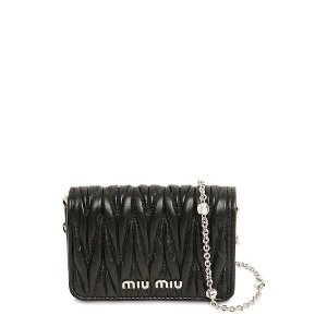 Miu MiuMINI LEATHER CARD HOLDER W/CRYSTAL STRAP