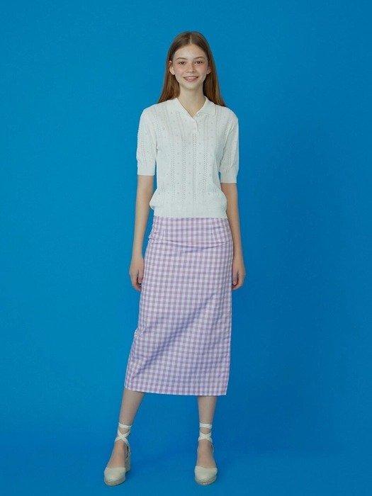 紫色格子半身裙