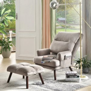 Ovios Recliner Chair with Ottoman Lumbar Support Wood Leg - Grey Velvet