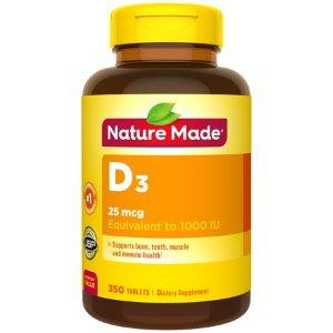 Nature Made Vitamin D3 1000 IU (25mcg) Tablets, 350 Count for Bone Health? - Walmart.com