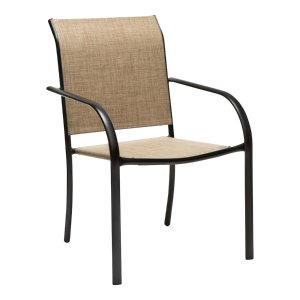 Garden TreasuresPelham Bay Stackable Steel Dining Chair with Tan Sling Seat