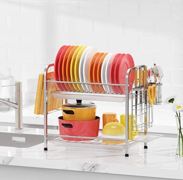 GSlife 双层不锈钢碗碟收纳架 带沥水盘、筷笼和砧板架