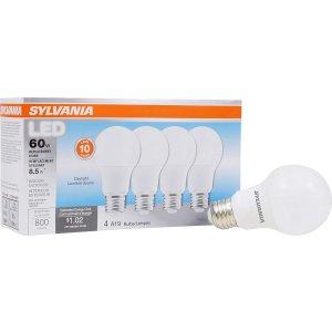$6 (原价$19.99)史低价:Sylvania A19 等效60瓦日光色 LED节能灯4件套