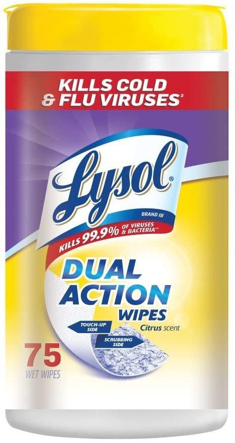 Lysol 柑橘味双面消毒湿巾 75张