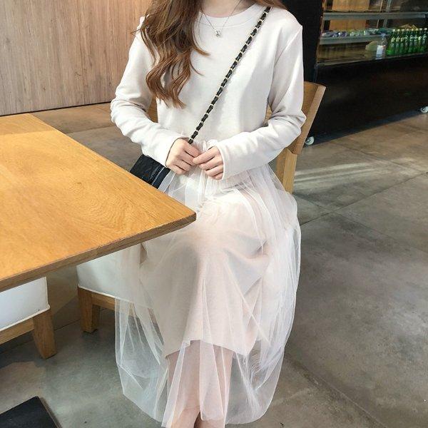 【直营】可可里小姐春季韩版气质甜美拼接网纱中长款打底连衣裙女