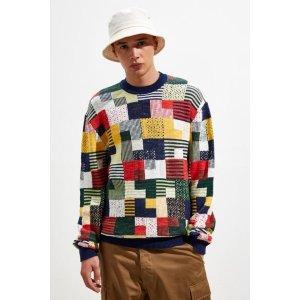 UO Geo Pattern Slub Crew Neck Sweater