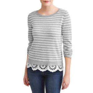 只要$13Heart N Crush  女式条纹蕾丝边毛衣热卖