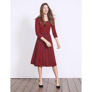 Boden酒红色连衣裙