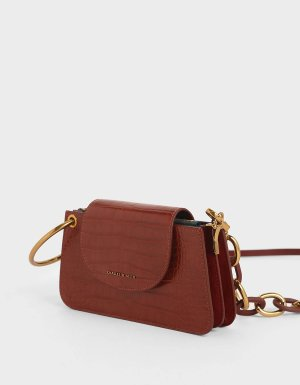 Charles & Keith Croc-Effect Ring Handle Mini Front Flap Wallet