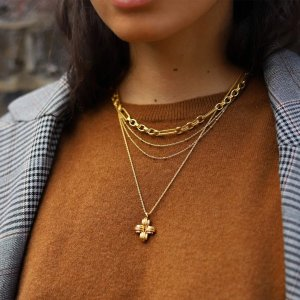 Missoma18ct黄金镀金十字架项链